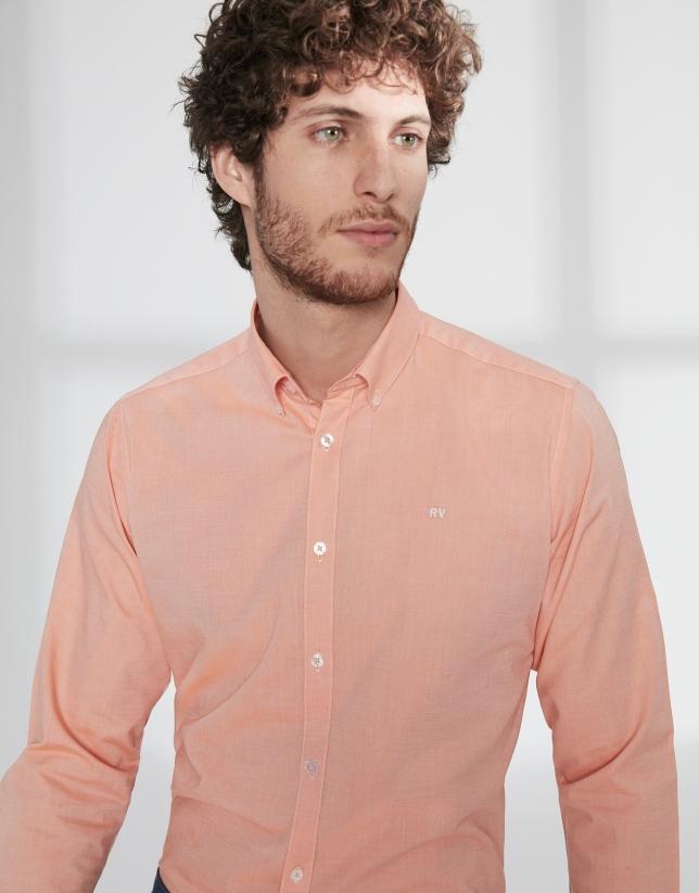 Chemise décontractée en Oxford orange