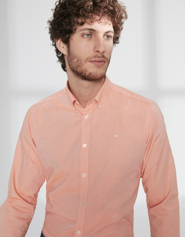 Orange Oxford sport shirt