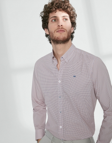 Blue and orange geometric print sport shirt