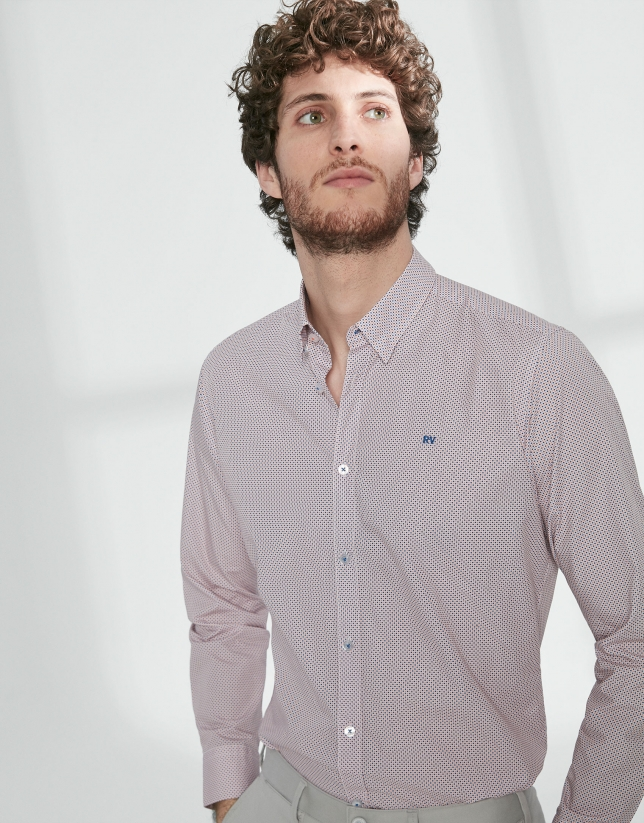 Camisa sport estampado geométrico azul/naranja