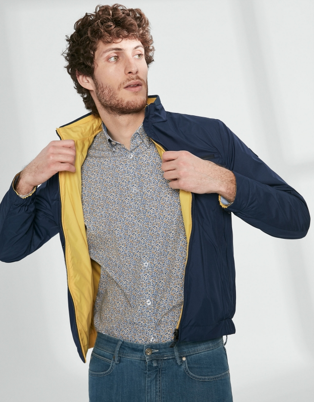 Blue and yellow floral print sport shirt