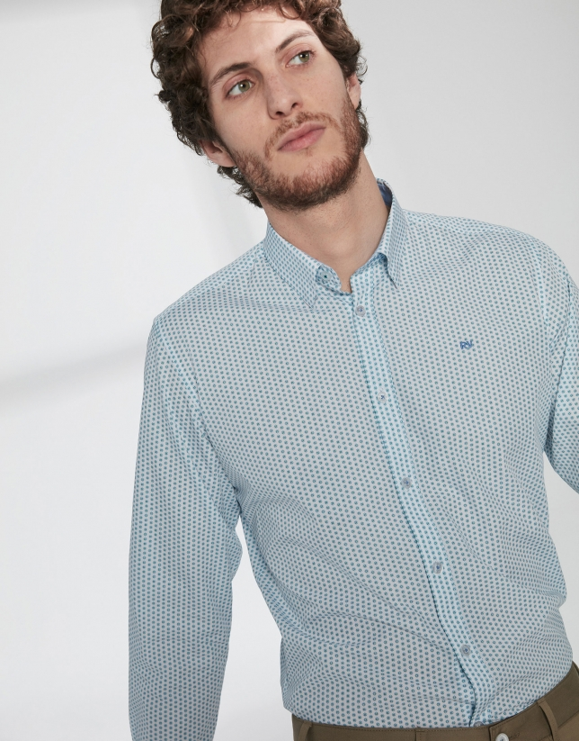 Light blue and green geometric print sport shirt