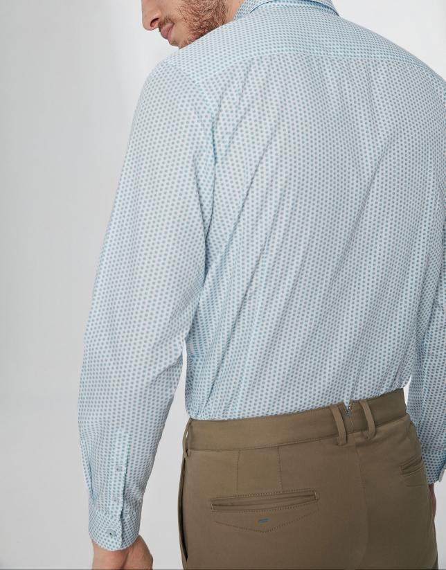 Camisa sport estampado geométrico verde/celeste