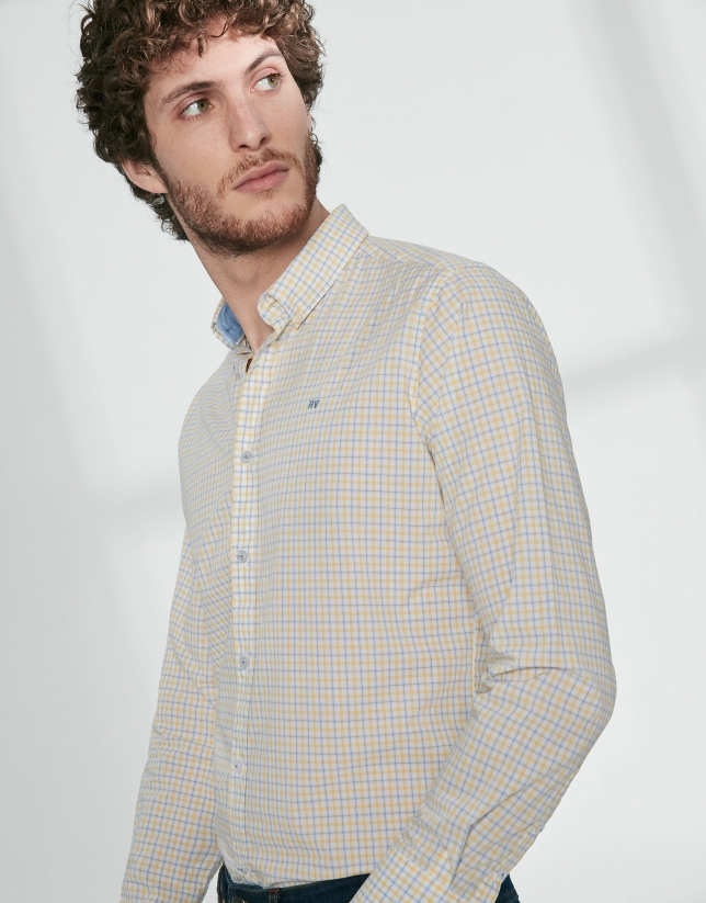 Light blue and yellow checked sport shirt