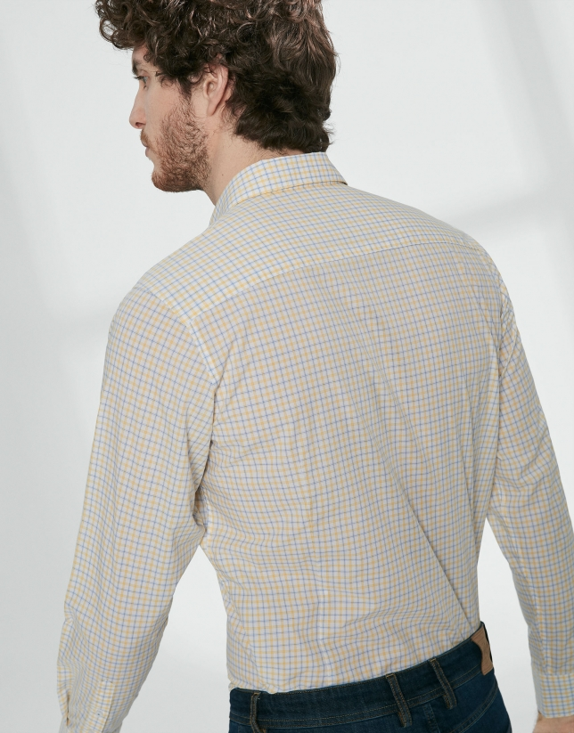 Camisa sport cuadros tonos celeste/amarillo