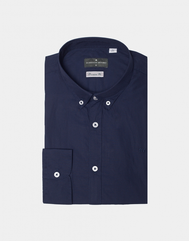 Blue marine poplin shirt with striped ribbon