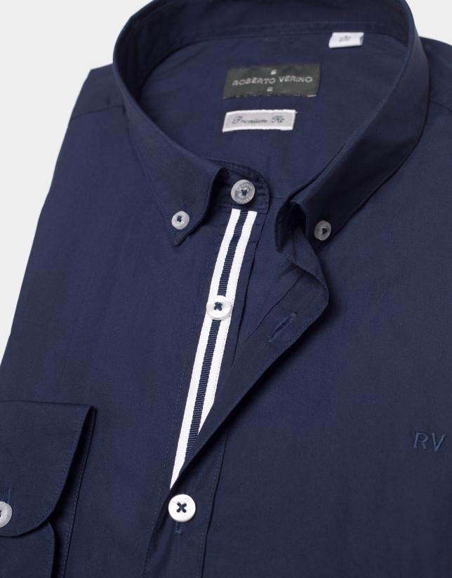 Chemise en popeline bleu marine avec ruban à rayures