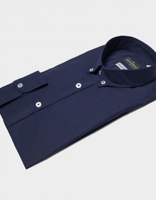 Camisa popelín marino con cinta de rayas