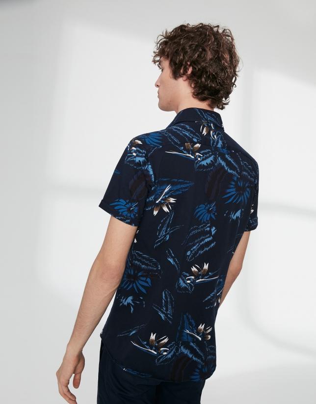 Chemise décontractée en maille, imprimé tropical