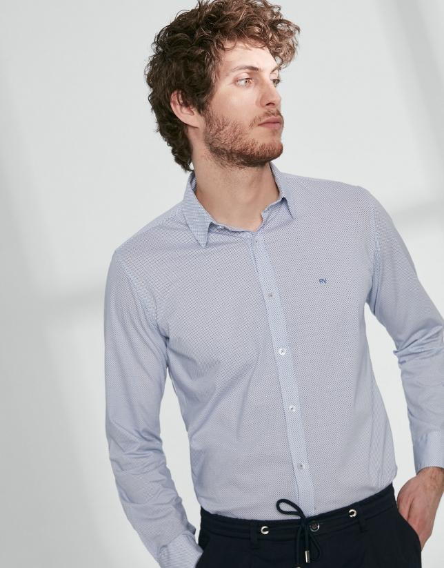 Blue polka dot print knit sport shirt