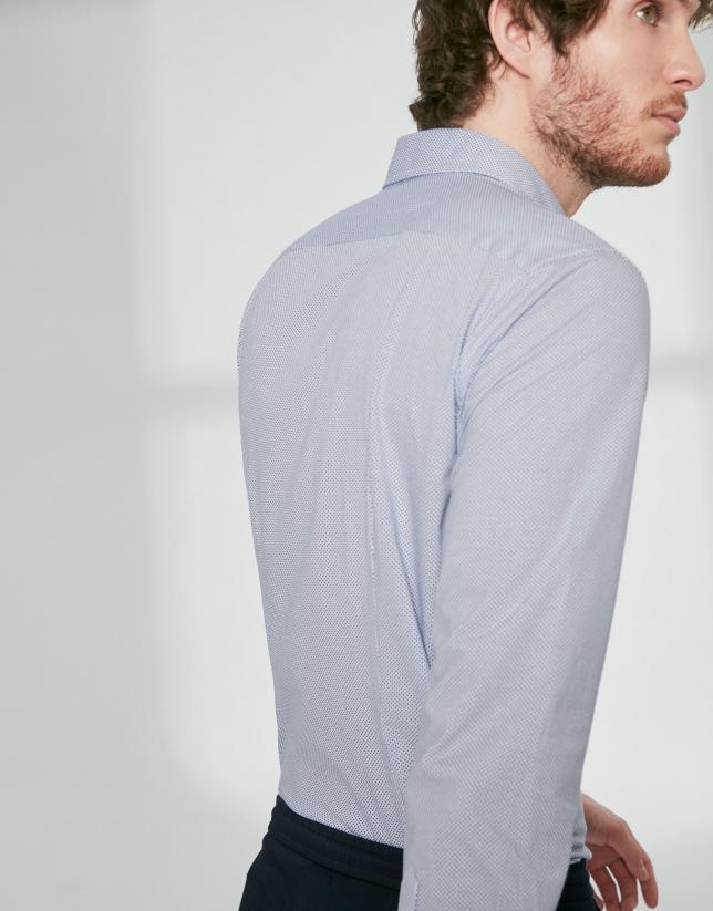 Chemise décontractée, imprimé de pois bleus