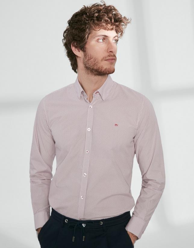 Blue and red geometric print sport shirt