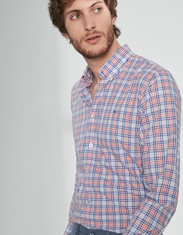 Camisa sport cuadros tonos azules/naranja