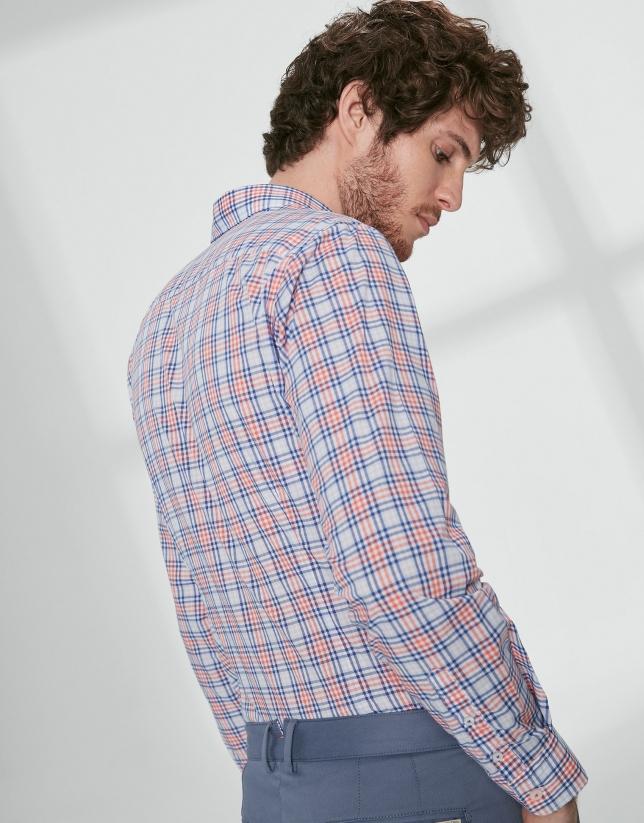 Blue and orange checked sport shirt