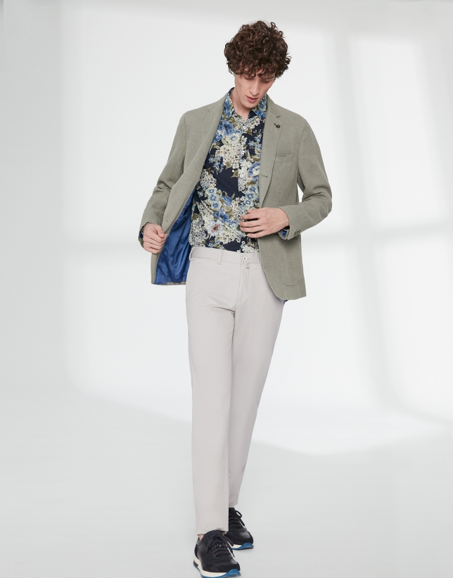 Blue and khaki floral print sport shirt