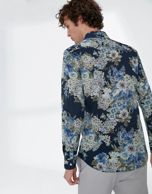 Chemise décontractée, imprimé floral en bleu/kaki