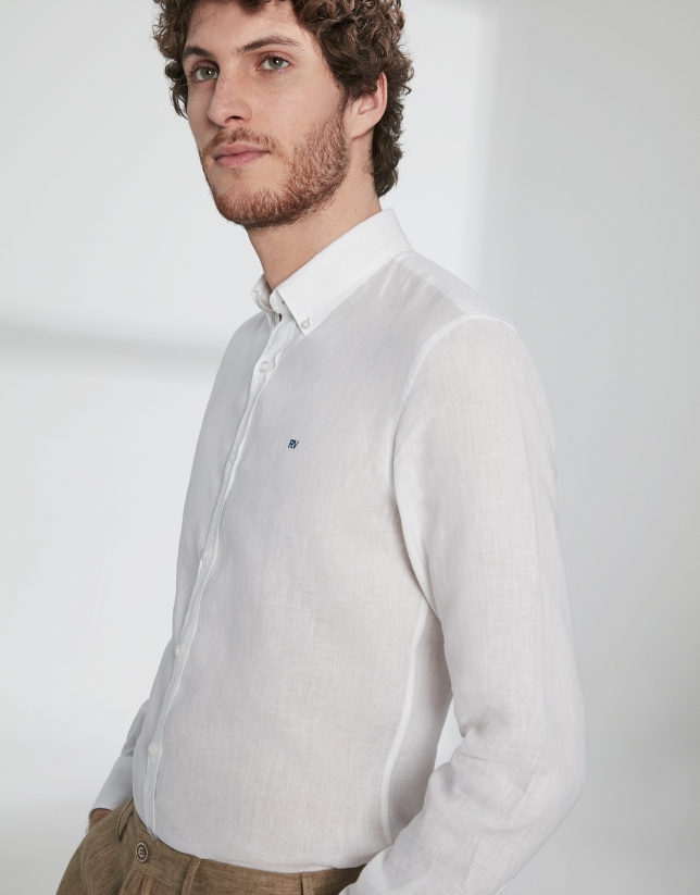 Camisa sport lino blanco