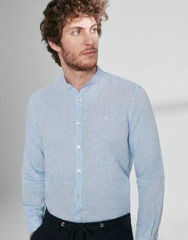 Chemise décontractée en lin bleu ciel