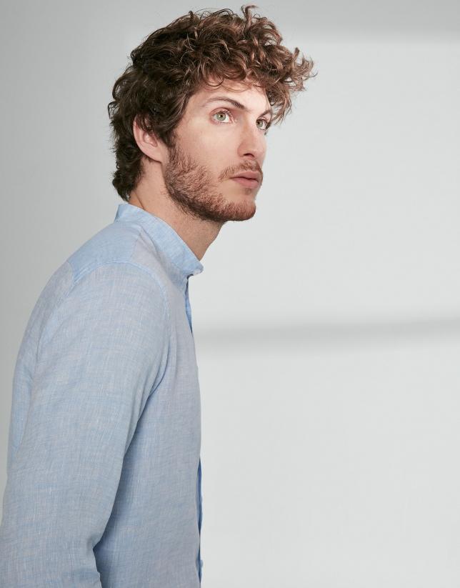 Camisa sport lino celeste