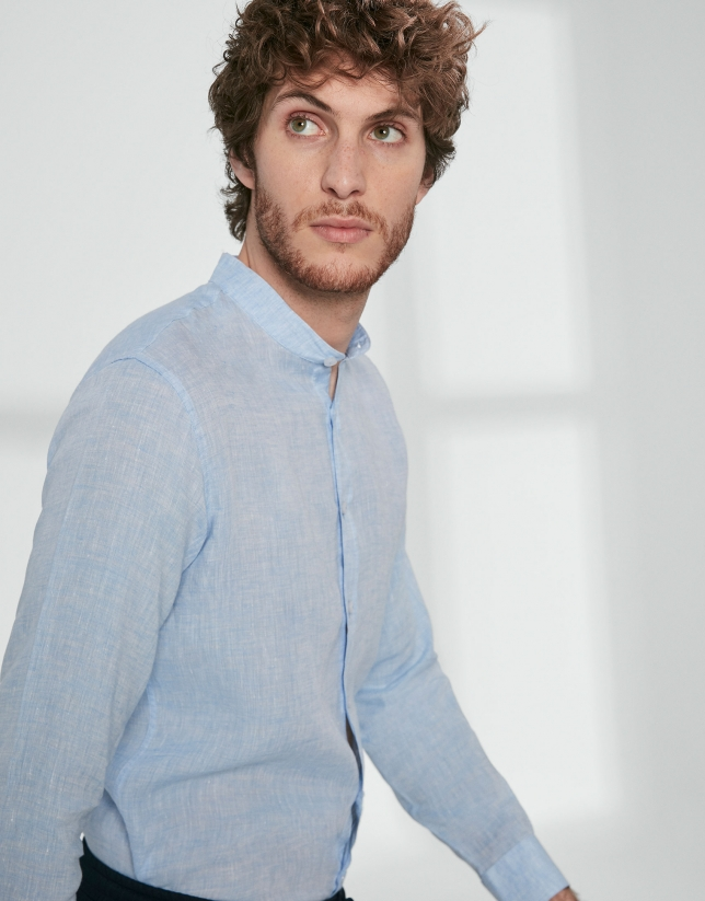 Light blue linen sport shirt