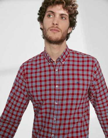Chemise décontractée à carreaux en rouge/bleu