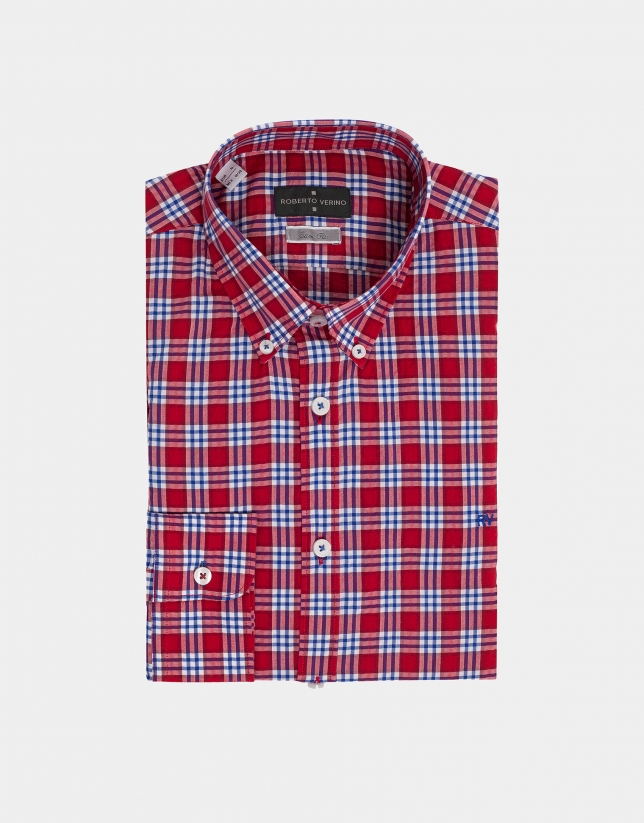 Camisa sport cuadros en rojo/azul