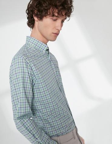 Camisa sport cuadros tonos verde/azul