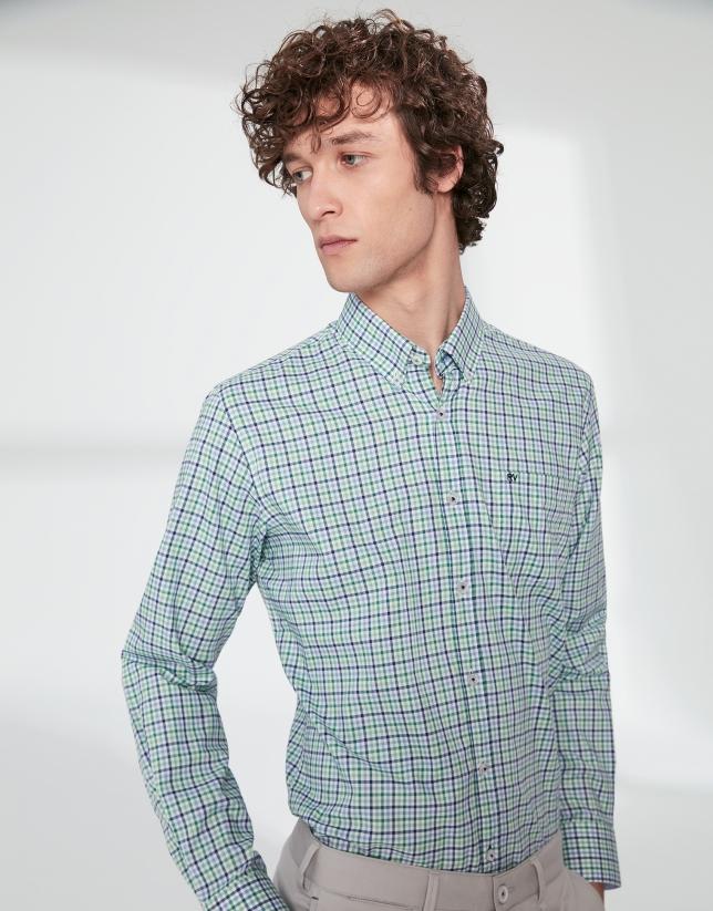 Chemise décontractée à carreaux dans les tons verts/bleus
