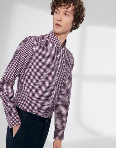 Camisa sport cuadros Vichy marino/rojo