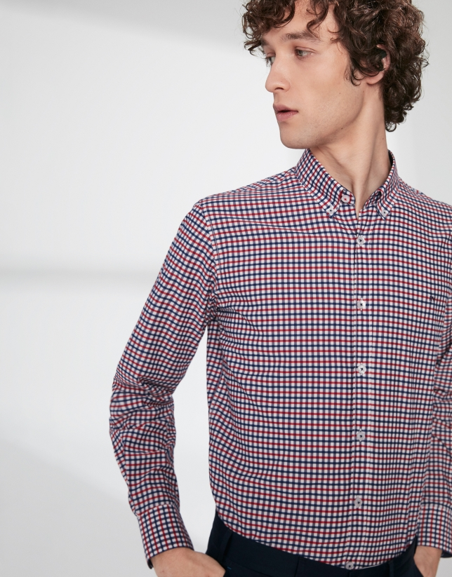 Navy blue and red Vichy checked sports shirt