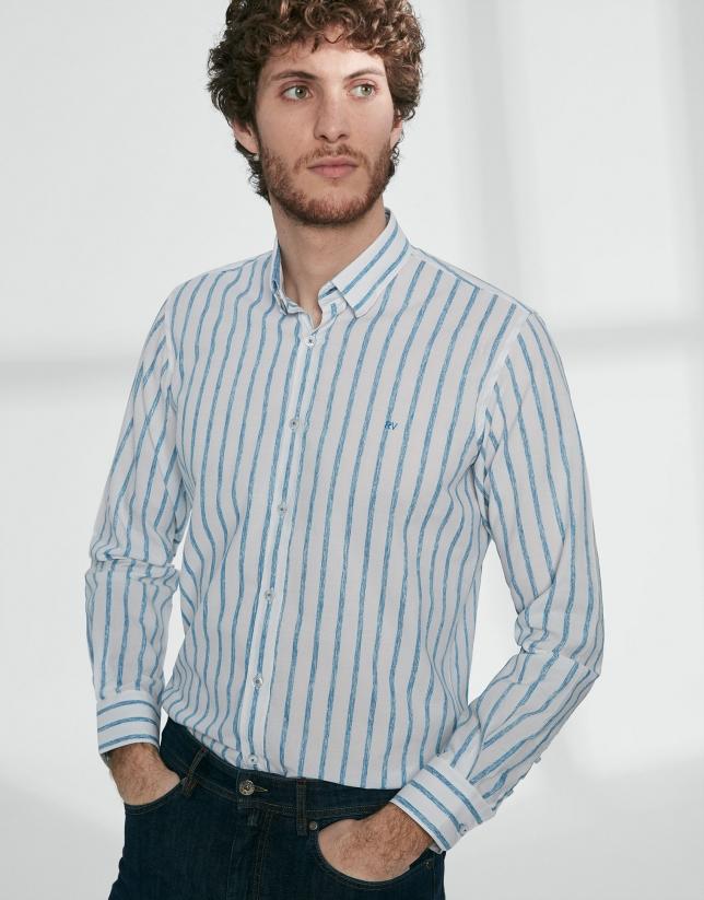 Camisa sport rayas turquesa