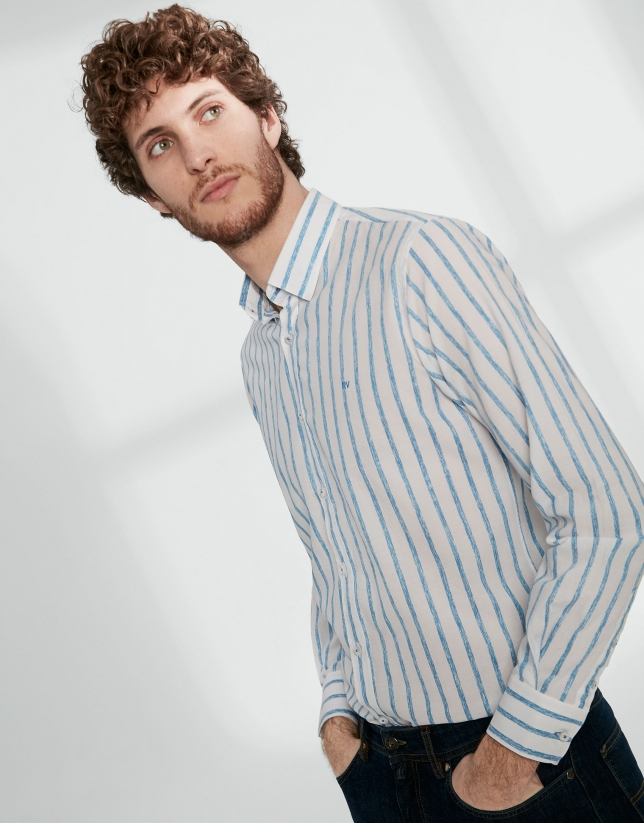 Turquoise striped sport shirt