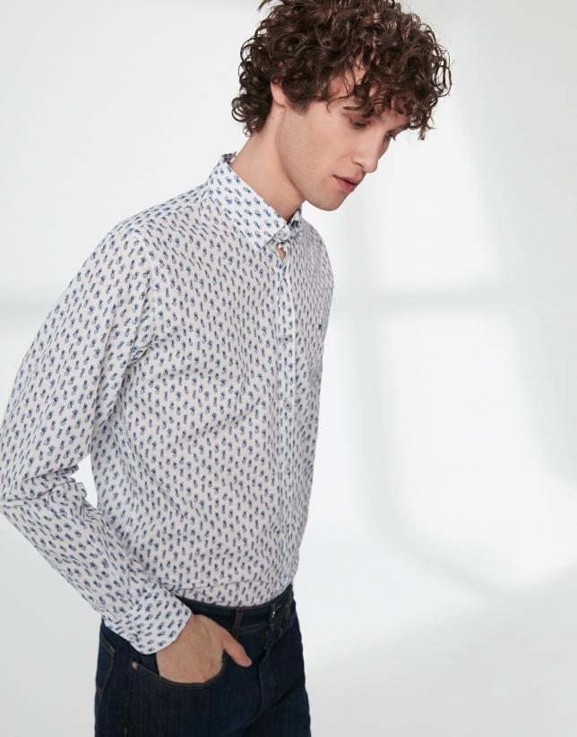 Camisa sport estampado piñas azul