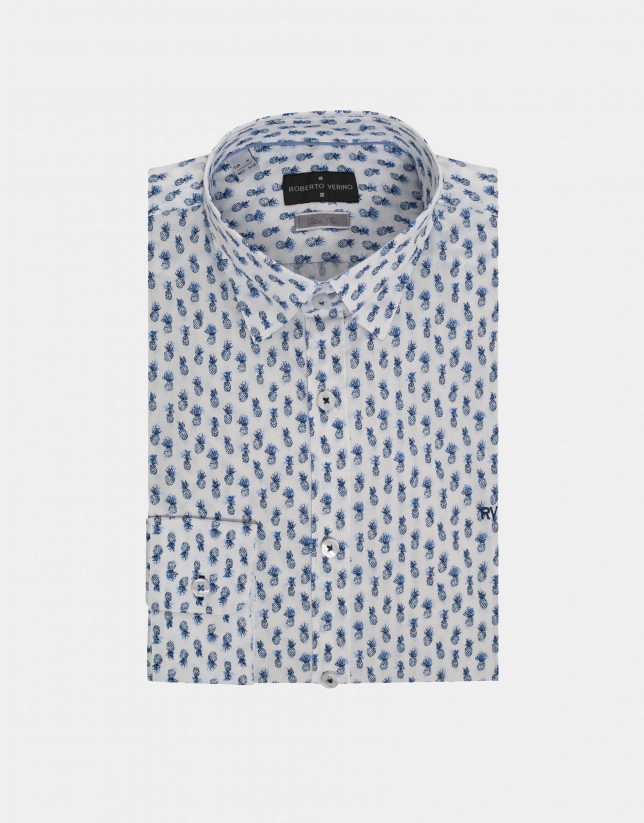 Blue pineapple print sport shirt