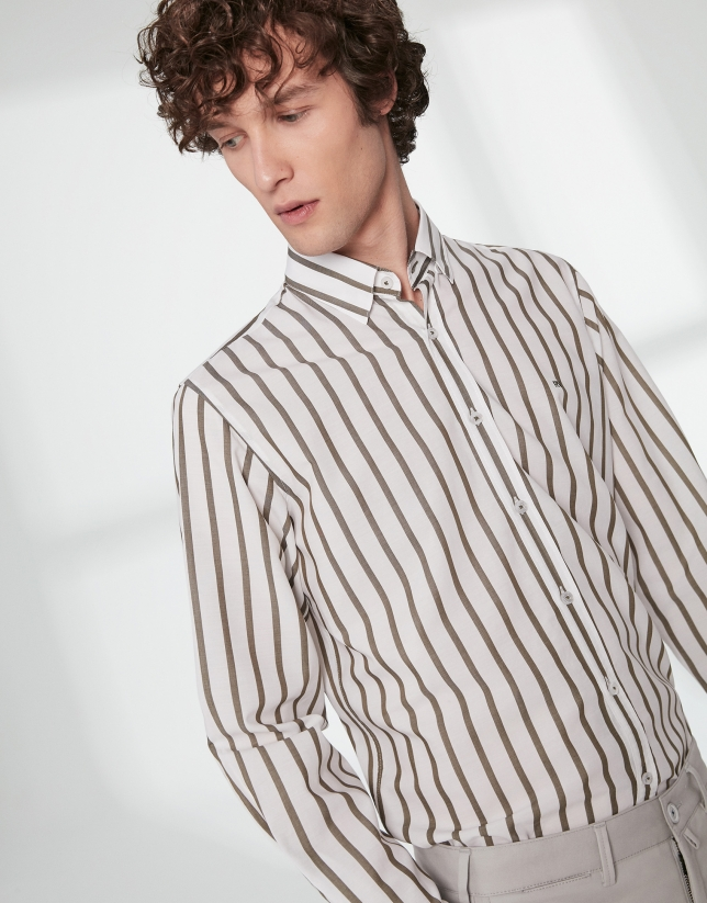 Khaki striped sport shirt