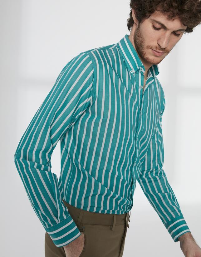 Chemise décontractée à rayures vertes et blanches