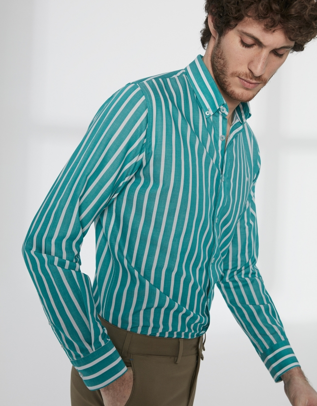 Green and white striped sport shirt