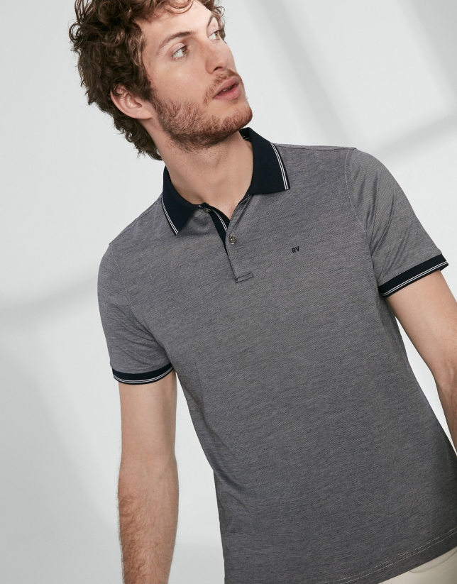 Navy blue thin striped mercerized cotton polo