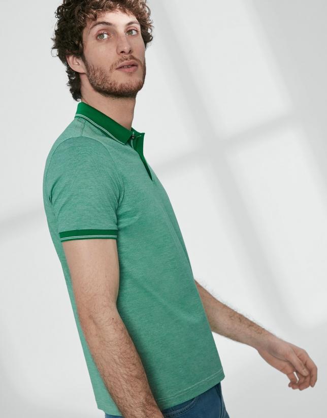 Polo en coton mercerisé à fines rayures vertes
