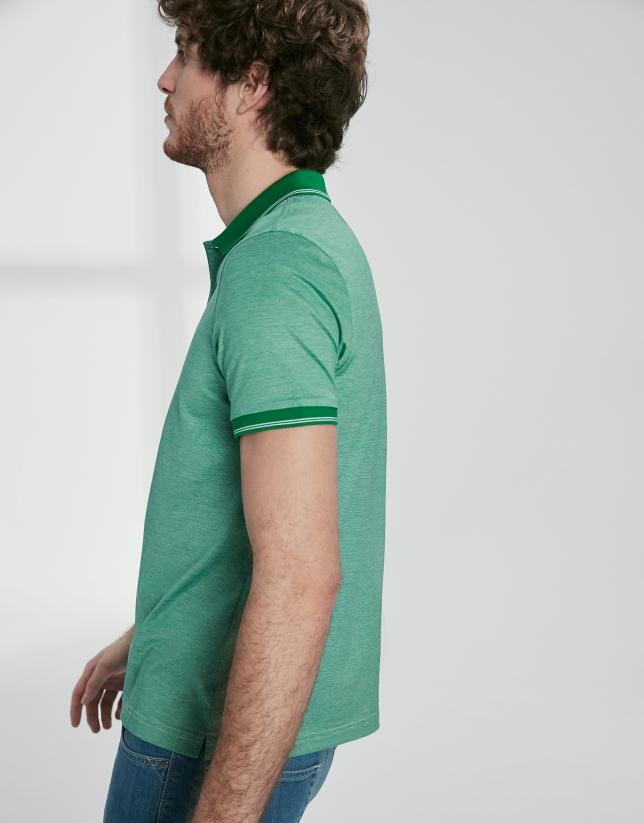 Green thin striped mercerized cotton polo