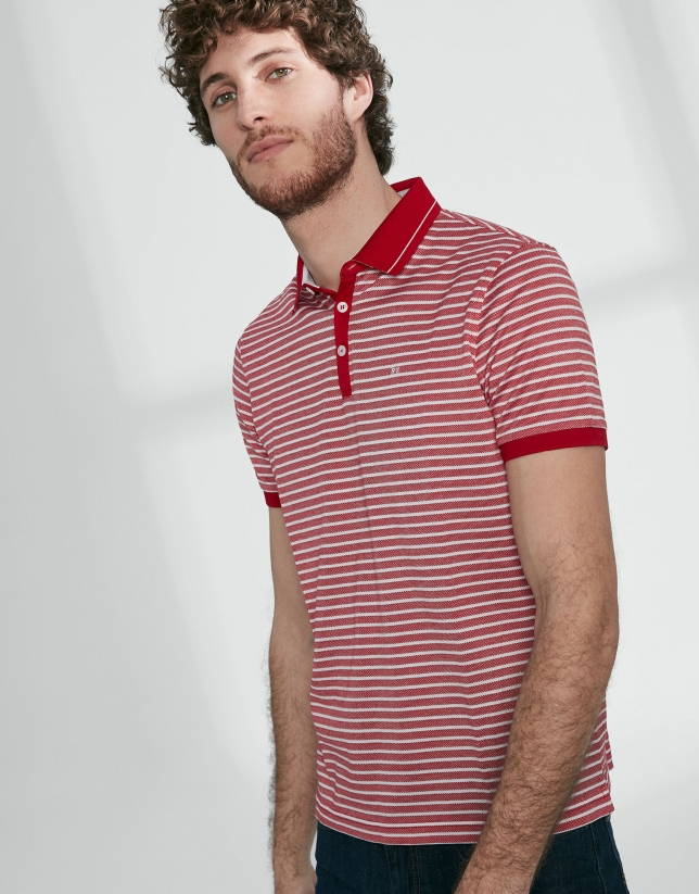 Red and white striped pique polo