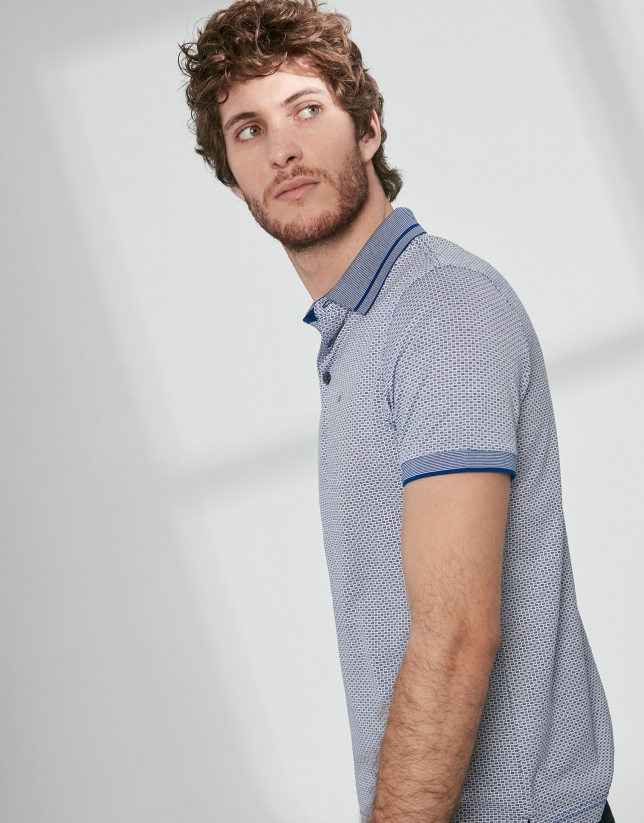 Blue and white mercerized cotton jacquard polo