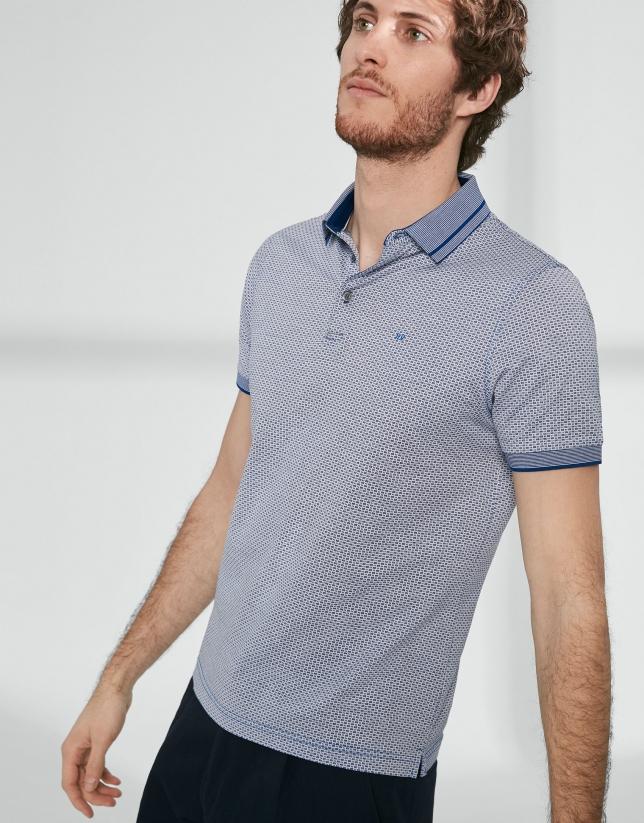 Polo jacquard algodón mercerizado azul/blanco