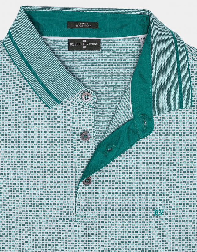 Green and white mercerized cotton jacquard polo