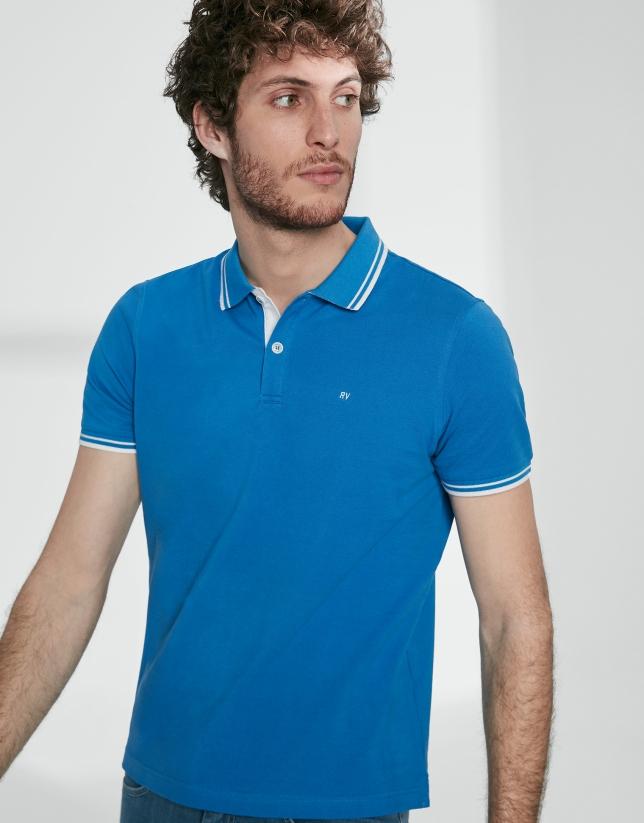 Blue cotton pique polo