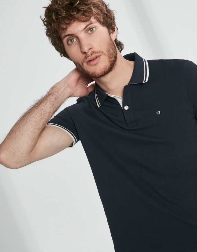 Navy blue cotton pique polo