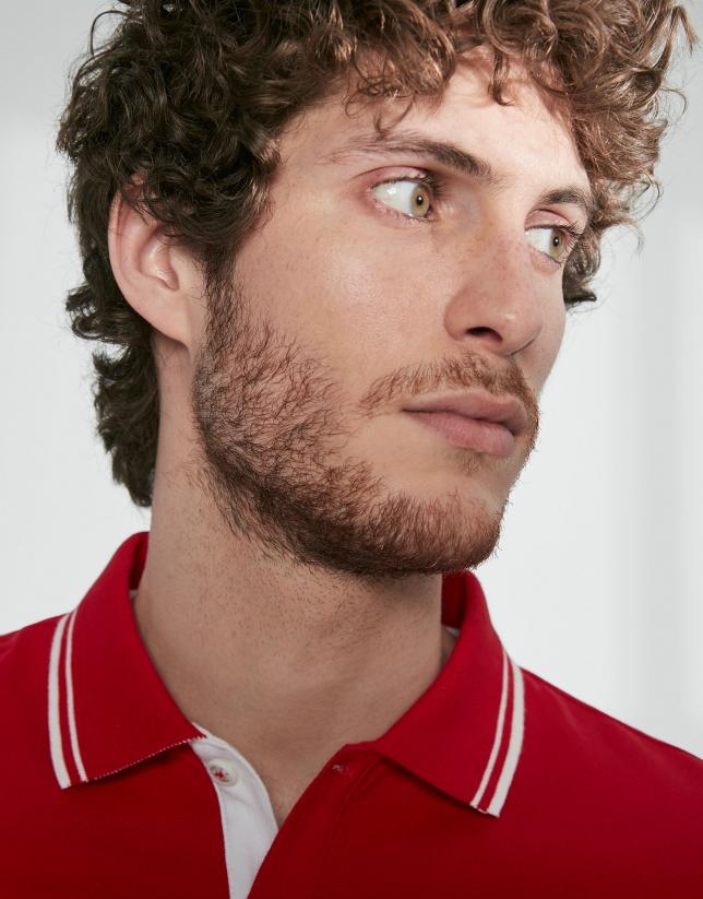 Polo en coton piqué rouge