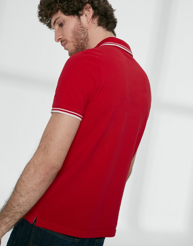 Red cotton pique polo