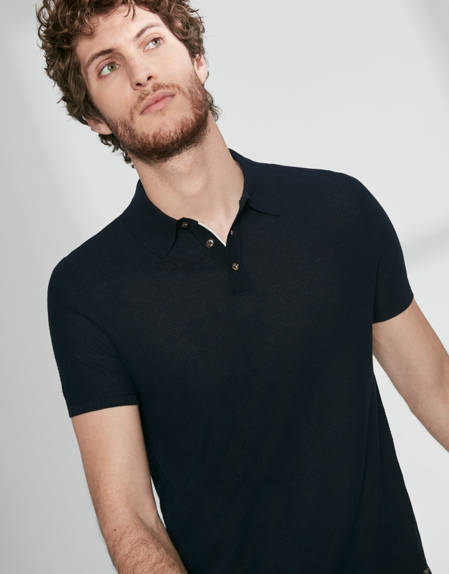 Navy blue cotton polo