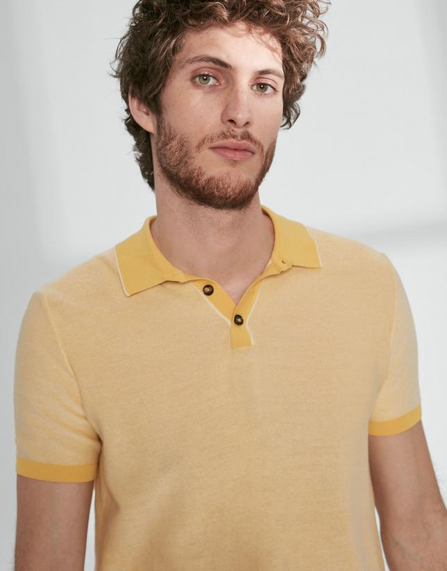Polo en coton jaune/blanc
